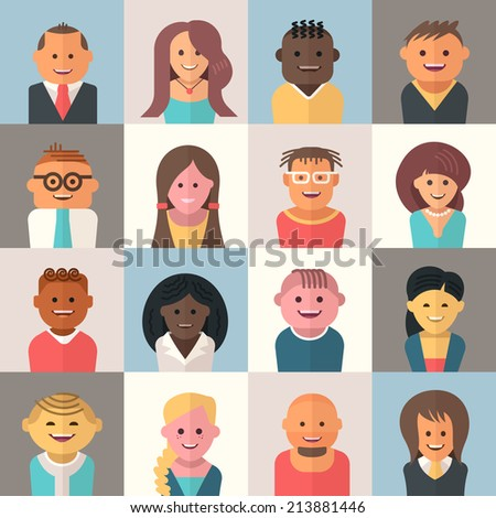 People avatars. Icons of people characters of various nationality, gender and occupation. Flat design style modern illustration icons collection - stock vector