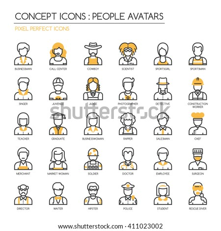 People Avatars, thin line icons set , Pixel perfect icons - stock vector