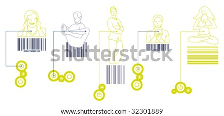 people bar code - stock vector