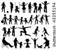 people black silhouettes collection, vector art illustration - stock vector