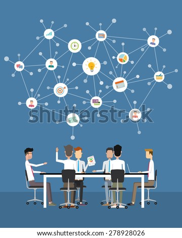 people business communication and idea brainstorm concept - stock vector