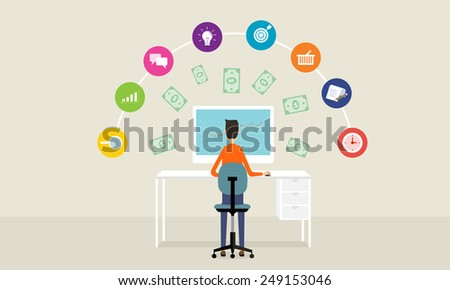 people business make money idea on line concept background - stock vector