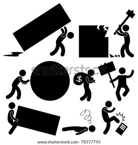 People Business Work Tough Burden Anger Difficult  Workplace Hurdle Obstacle Roadblock Frustration Concept Icon Symbol Sign - stock vector