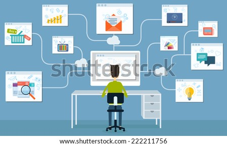 people business working internet on line network application ans seo - stock vector