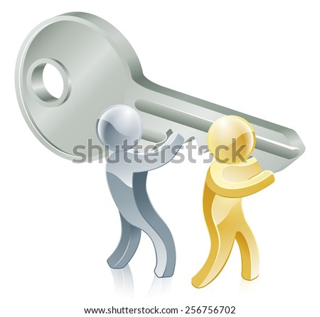 People carrying a giant key, partnership or teamwork business concept.  - stock vector