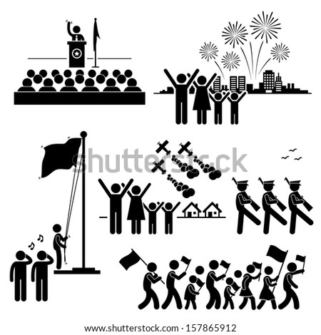 People Celebrating National Day Independence Patriotic Holiday Stick Figure Pictogram Icon - stock vector