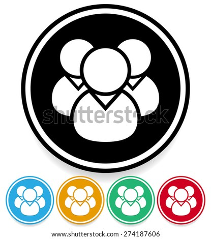 People, characters icon for partnership, company and membership concepts - stock vector