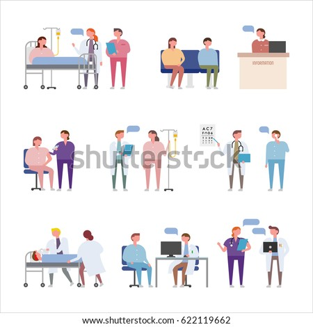 people characters in hospital vector illustration flat design