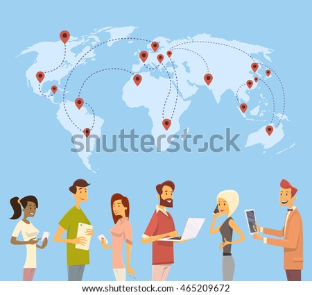 People Chat Digital Device World Map Social Network Communication Flat Vector Illustration