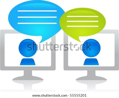 People chatting through the internet - stock vector