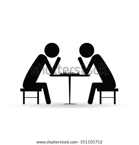 people chess symbol vector black silhouette