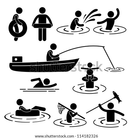 People Children Leisure Swimming Fishing Playing at River Water Stick Figure Pictogram Icon - stock vector