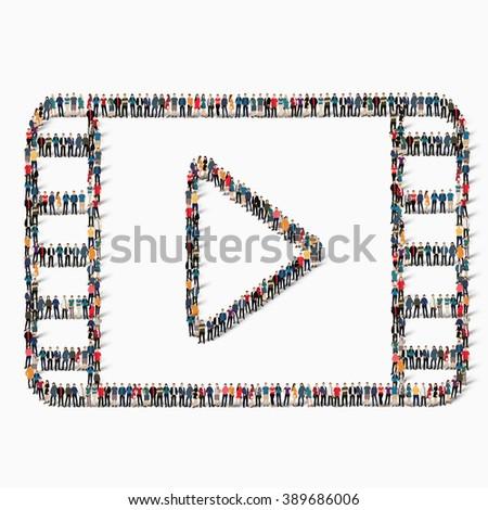 people  cinematographic tape icon - stock vector
