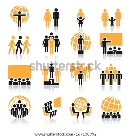 People, collection of orange and black icons over white background - stock vector