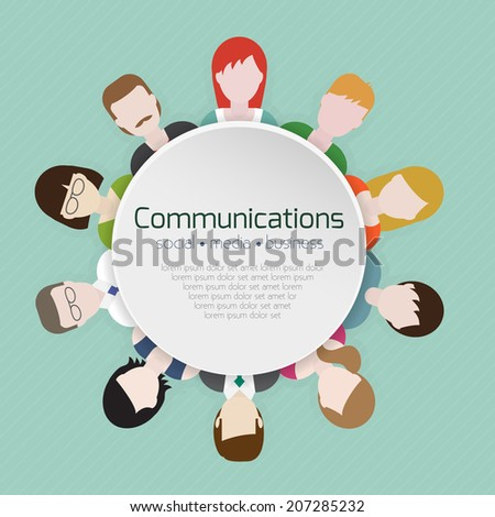 People communications icons in flat style. Vector illustration. - stock vector
