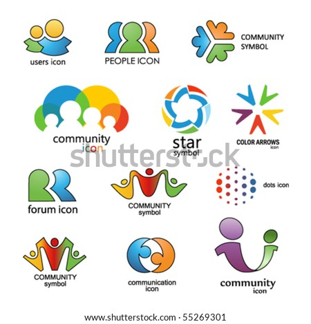People. Community. Communication. Vector design elements 15 - stock vector