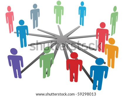 People connect in a social media network or business company. - stock vector