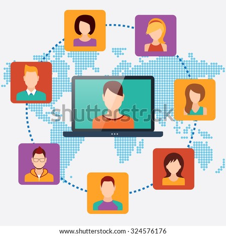 People connecting concept, social media networks. Vector illustration - stock vector