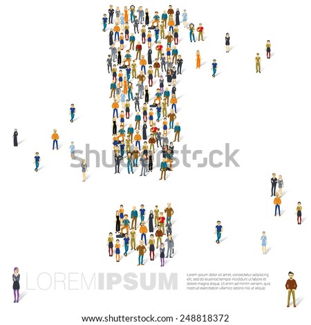 People crowd exclamation mark vector template. - stock vector