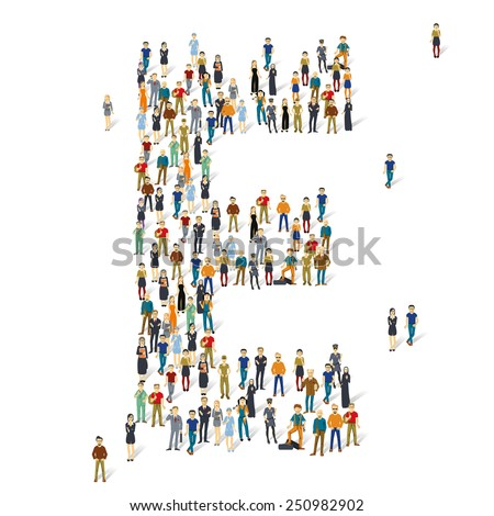 People crowd. Vector ABC, letter E - stock vector