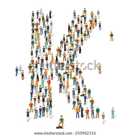 People crowd. Vector ABC, letter K - stock vector