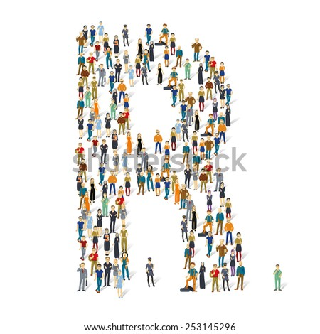 People crowd. Vector ABC, letter R - stock vector