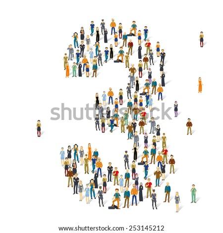 People crowd. Vector figures, 3 - stock vector