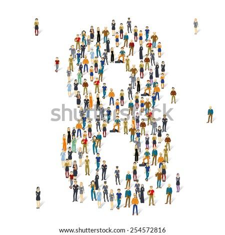 People crowd. Vector figures, 8 - stock vector
