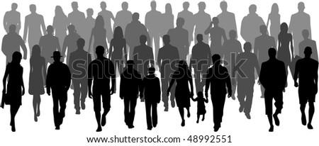People crowd, vectors work- illustration - stock vector