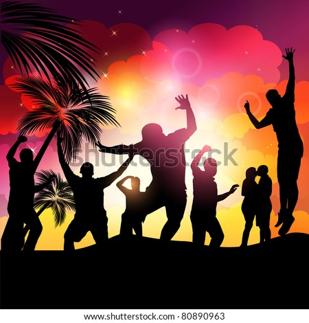 People Dancing-Beach Party - stock vector