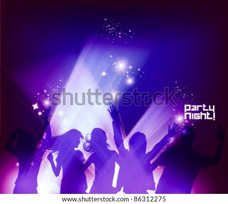 people dancing in the club during party - stock vector