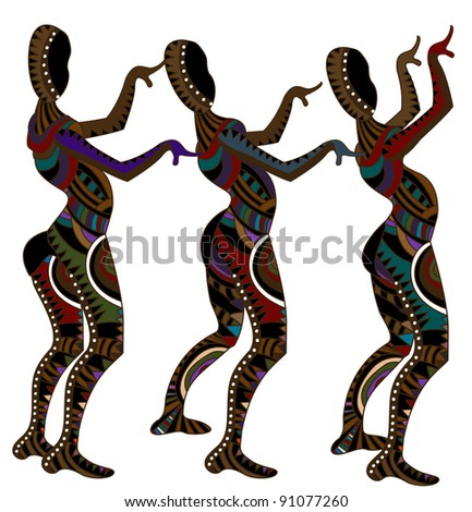 people dancing natives as their religious dance - stock vector
