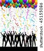 People dancing on a party background - stock vector