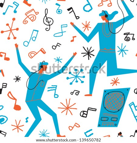 people dancing to the music vector seamless background - stock vector