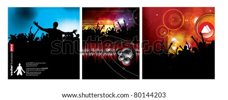 People dancing. 3 types of backgrounds party. - stock vector