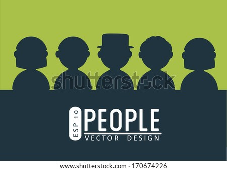 people design  over green  background vector illustration  - stock vector