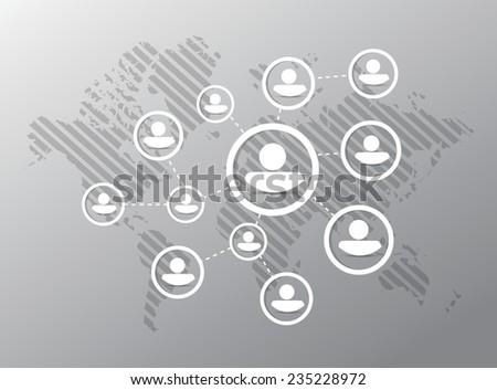 people diagram network illustration design over a grey background - stock vector