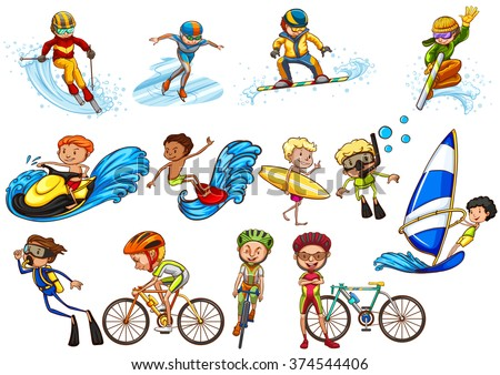 People doing different sports illustration