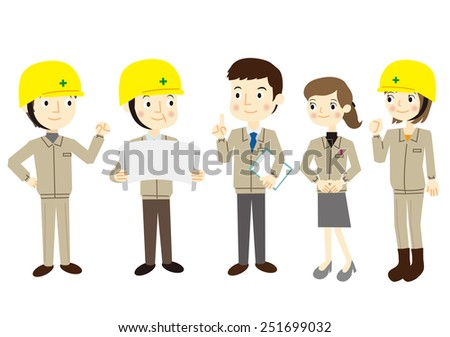 People dressed in work clothes - stock vector