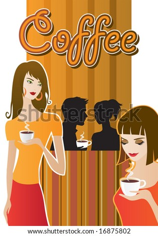 People drinking coffee. - stock vector