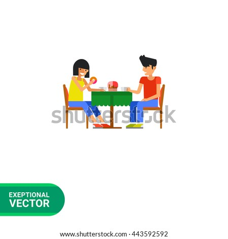 People drinking coffee flat icon - stock vector