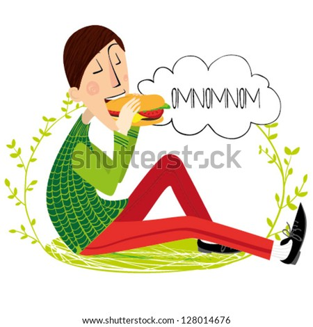 People eat the hamburger on the grass - stock vector