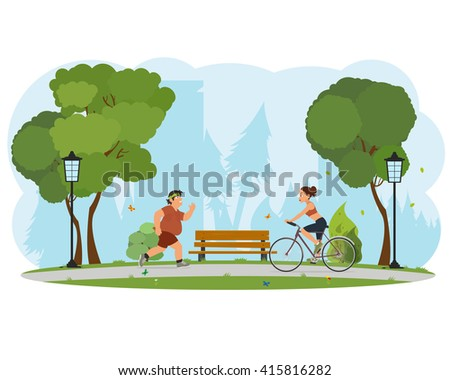 people engaged in sports city park. obese man running, girl riding a bicycle. vector - stock vector