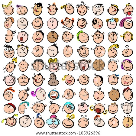People Expression Doodle Cartoon Icons - stock vector