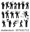 People Expressions Feelings Emotions While Talking on a Cellphone Stick Figure Pictogram Icons - stock vector