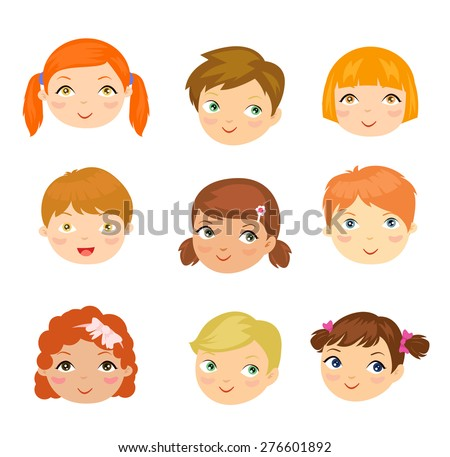 people face set - stock vector