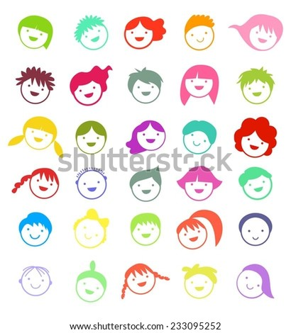People Faces - stock vector