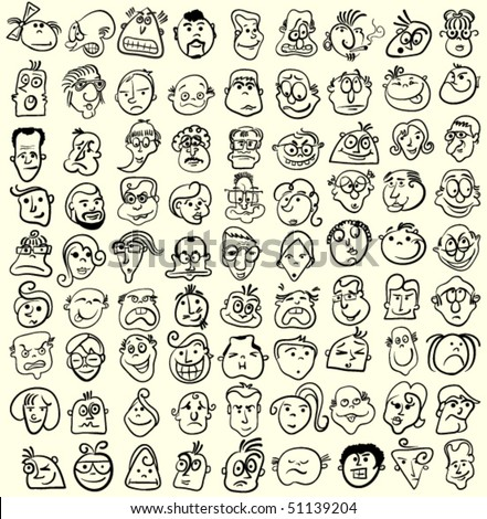 People faces, doodle cartoon expressions and emotions, avatar icons - stock vector