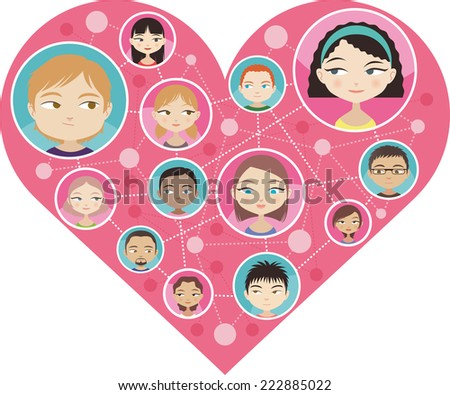 People faces looking at each others in love, connected through love or internet. With different boys and girls head and shoulder avatar profile image vector illustration - stock vector