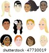 People Faces 2. Vector Illustration set of 12 peoples on a diverse set of cultures. Also available in other sets. - stock vector